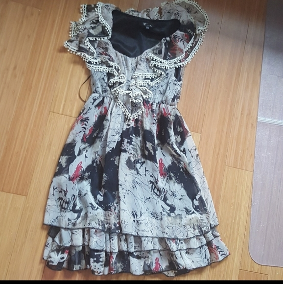 Cutie ruffled mini dress sz S/M